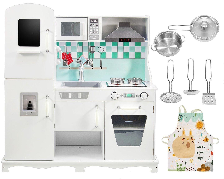 Duża drewniana biała kuchnia XXL z akcesoriami i fartuszkiem