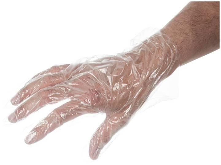 Foliowe rękawiczki jednorazowe HDPE 10um grube - 100 sztuk