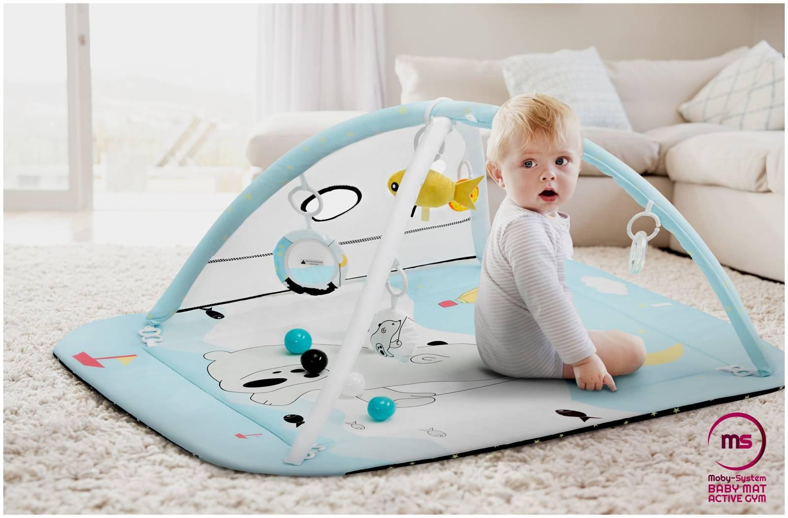 Kojec + Mata interaktywna do zabawy 5w1 z piłeczkami - Moby-System BABY MAT ACTIVE GYM 0+