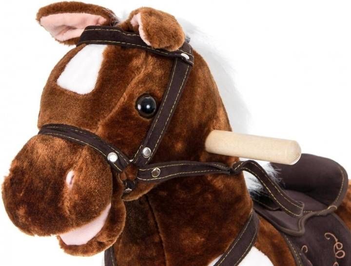 Koń na biegunach - duży 70 cm - brązowy