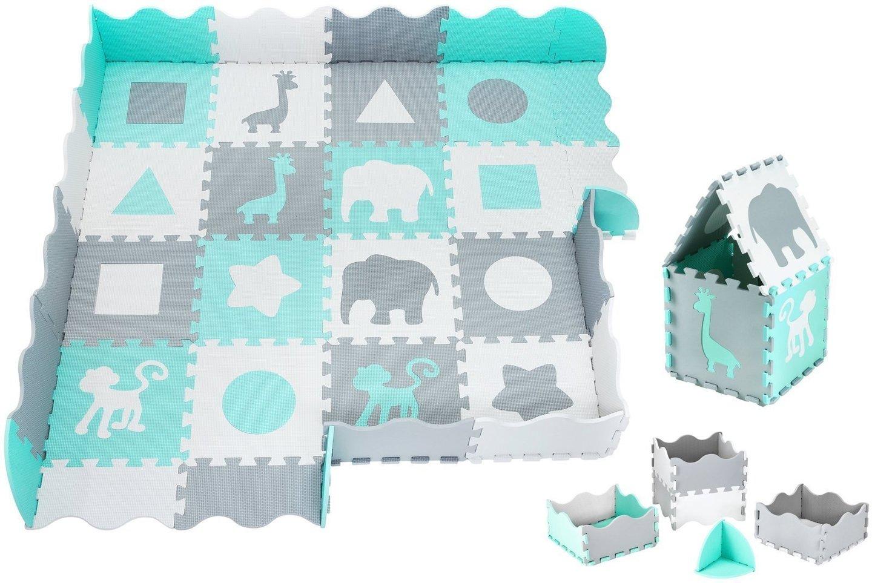 Mata piankowe puzzle XL 150 x 150 x 1cm z obrzeżem - pianka EVA - miętowa
