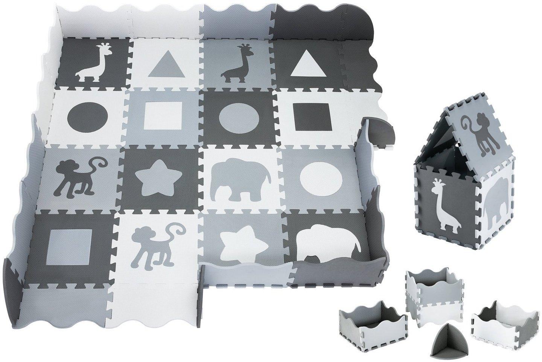 Mata piankowe puzzle XL 150 x 150 x 1cm z obrzeżem - pianka EVA - szara