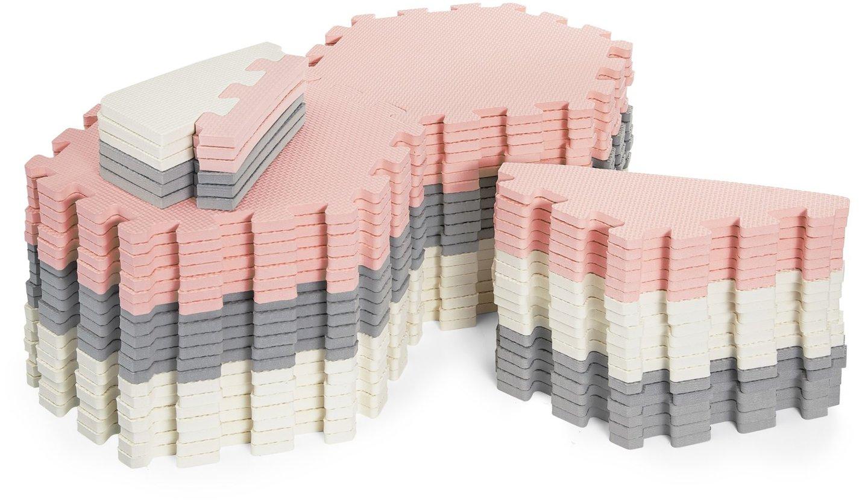 Mata piankowe puzzle XXL 260 x 135 x 1cm z obrzeżem - pianka EVA + torba - różowa