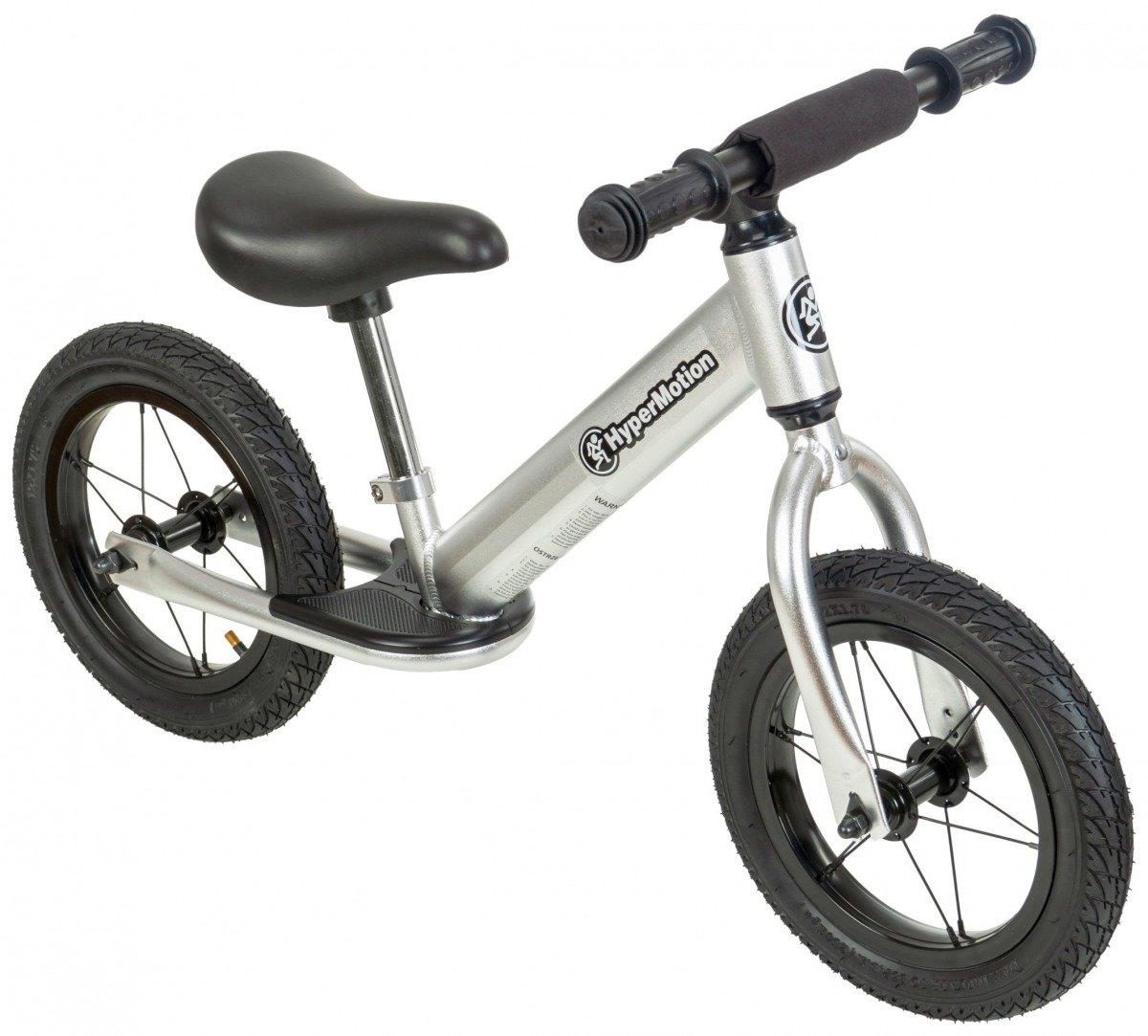 Rowerek biegowy HyperMotion COVAGGIO - pompowane koła, aluminiowa rama - srebrny