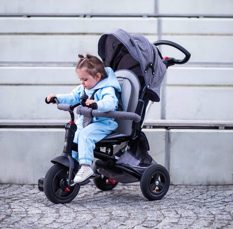 Rowerek trójkołowy Tobi Velar + folia przeciwdeszczowa - szary